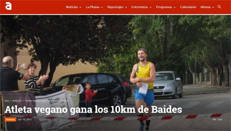 Atleta vegano gana los 10km de Baides TVAnimalista.com