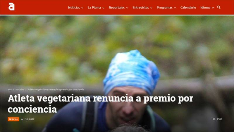 Atleta vegetariana renuncia a premio por conciencia TVAnimalista