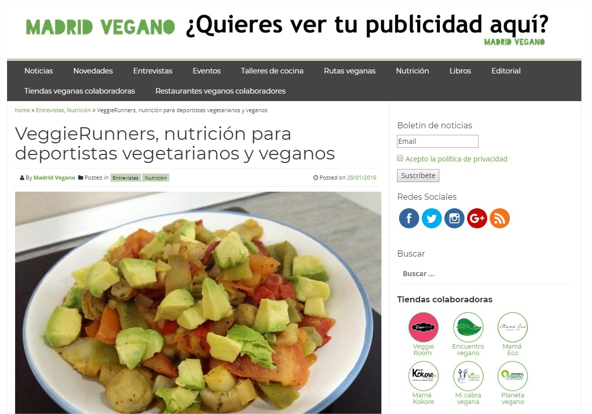 VeggieRunners, nutrición para deportistas veganos